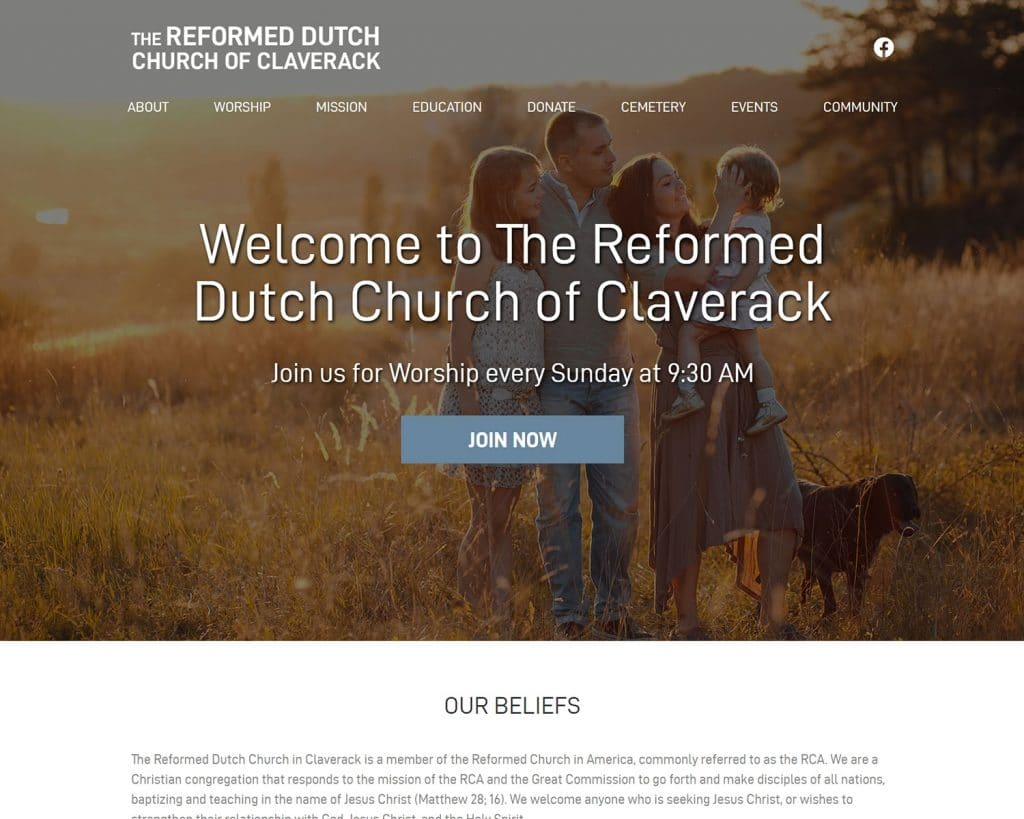 website design portfolio - claverack reformed church