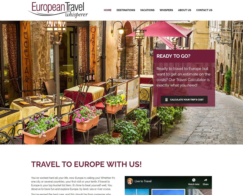website design portfolio - european travel whisperer