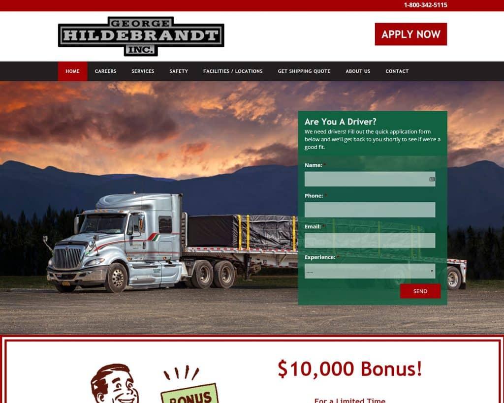 website design portfolio - GHI Trucking