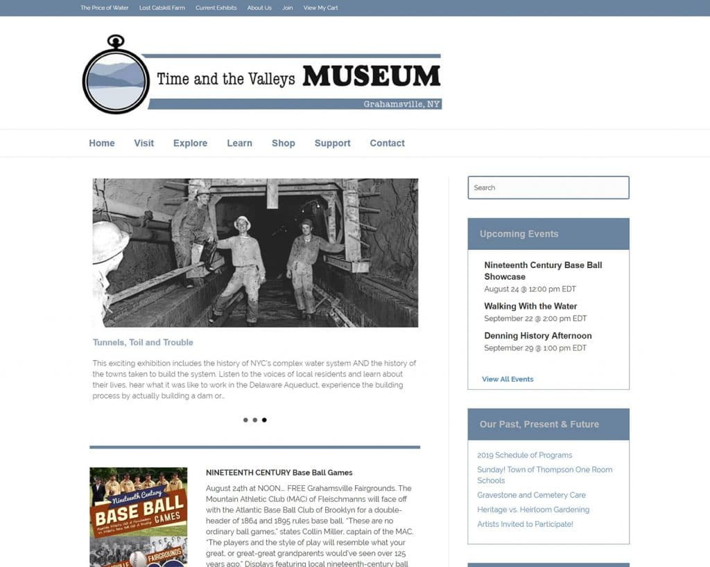website design portfolio - time and the valleys musuem