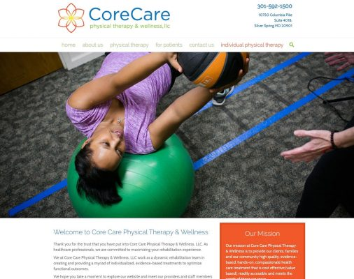 website design portfolio - coreCare