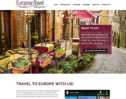 website design portfolio - european travel whisperer