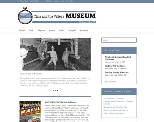 website design portfolio - time and the valleys musuem